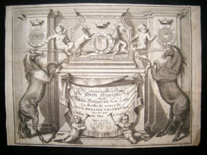 Cavendish Equestrian 1700 Engraved Title Page. Horses | Albion Prints